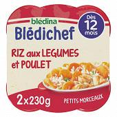 Blédina blédichef riz aux légumes et poulet dès 12 mois 2x230g
