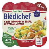 Bledina blédichef sauté de pommes de terre petits pois et veau dès 12 mois 2x230g