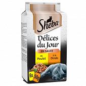 Sheba sachets fraîcheur pour chat en gelée délices du jour à la volaille 6x50g