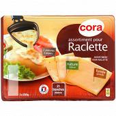 Cora plateau de fromage à raclette saveurs poivre, nature, fumée 3x200 g