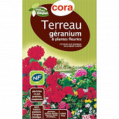 Cora terreau geranium et plantes fleuries 20 l utilisable en agriculture biologique
