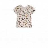 Tee shirt manches courtes fille WHITE FUNNY AOP 14 ANS