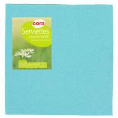 Cora serviettes X40 turquoise toucher textile 38X38cm 2 plis