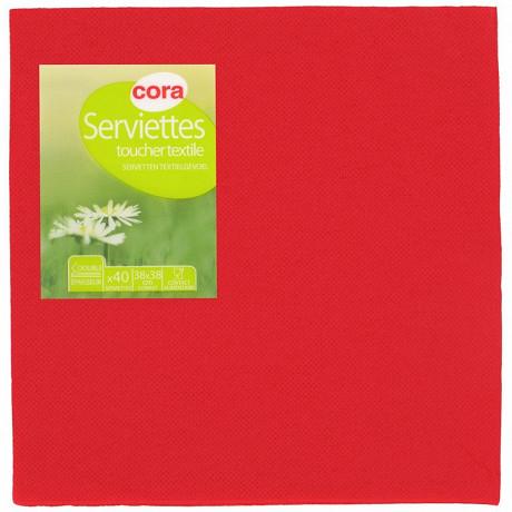 Cora serviettes X40 toucher textile rouge 38x38cm 2 plis