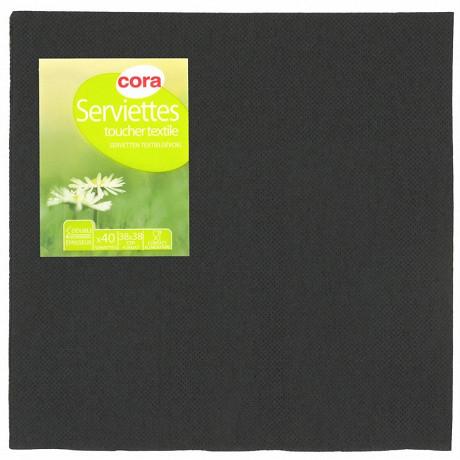 Cora serviettes X40 noir toucher textile 38x38cm 2 plis