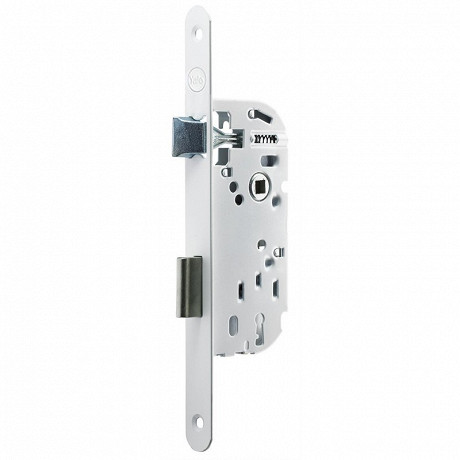Serrure à encastrer, axe à 40mm, à clé - 2 clés, reversible, blanche