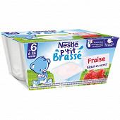 Nestlé p'tit brassé fraise dès 6 mois 4x100g