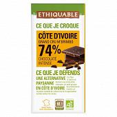 Ethiquable chocolat noir 74% cacao Côte d'Ivoire bio 100g