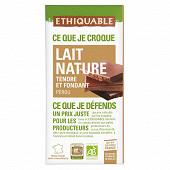 Ethiquable chocolat lait tendre et fondant nature bio 100g
