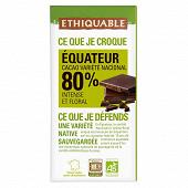 Ethiquable chocolat noir 80% cacao Equateur bio 100g