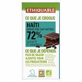 Ethiquable chocolat noir 72% cacao d'Haiti bio 100g