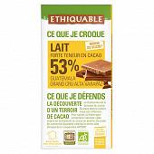 Ethiquable chocolat lait 53% cacao Equateur bio 100g