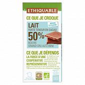 Ethiquable chocolat lait 50% cacao Madagascar bio 100g