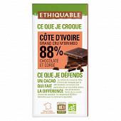 Ethiquable chocolat noir 88% cacao Bolivie bio 100g