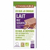 Ethiquable chocolat au lait riz soufflé 100g