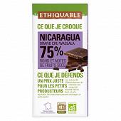 Ethiquable chocolat noir 75% cacao du Nicaragua bio 100g