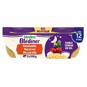 Bledina blédiner ratatouille petits macaronis mozzarella 2x200g dès 12 mois