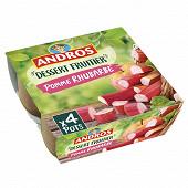Andros dessert fruitier pommes rhubarbe 4x100g