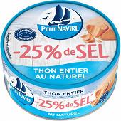 Petit Navire thon entier naturel 25% de sel démarche responsable 112g