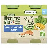 Blédina les récoltes bio pots épinards semoule saumon dès 6 mois 2x200g