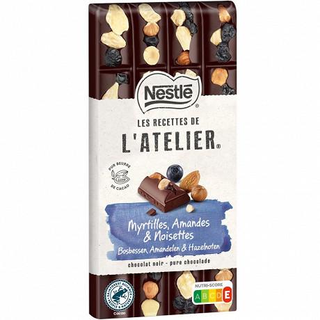 Nestlé Les Recettes de L'Atelier tablette de chocolat noir, myrtilles, amandes et noisettes 170g