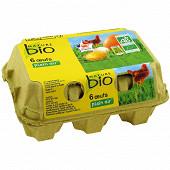 Nature Bio 6 oeufs bio de poules élevées en plein air