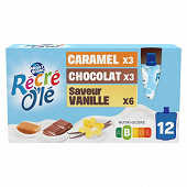 Recré o'lé trivariétés chocolat vanille caramel 12x85g
