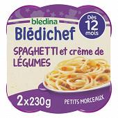 Bledina blédichef petits morceaux spaghettis et crème de légumes dès 12 mois 2x230g