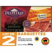 Delpeyrat jambon serrano 12mois 4 grandes tranches lot 2x100g