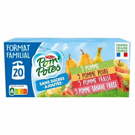 Pom'potes sans sucres ajoutes multivarietes 20x90g