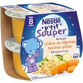 Nestlé p'tit souper crème de légumes tendres pâtes dès 8 mois 2x200g