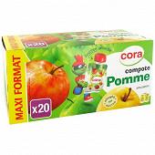 Cora kido gourdes compote de pomme allégée en sucre 20 x 90g