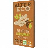 Alter Eco chocolat noir éclats de gingembre 100g