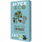 Alter Eco chocolat lait noisettes entières bio 100g