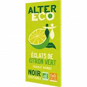 Alter éco chocolat noir zestes de citron bio 100g