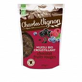 Charles vignon muesli bio croustillant chocolat fruits rouges 375g
