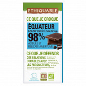 Ethiquable chocolat noir 98% cacao Equateur bio 100g