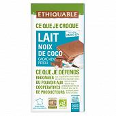 Ethiquable chocolat au lait noix de coco 100g