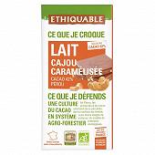 Ethiquable chocolat au lait noix de cajou 100g