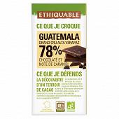 Ethiquable chocolat noir 78% Guatemala bio 100g