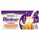 Blédina blediner croissance carottes petits pois dès 12 mois 2x250ml