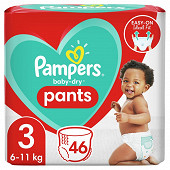 Pampers baby dry pents geant t3 x46