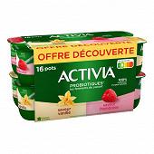 Activia arôme vanille framboise 16x125g offre découverte