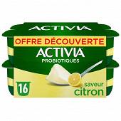Activia bifidus saveur citron sans arôme artificiel 16x125g offre découverte