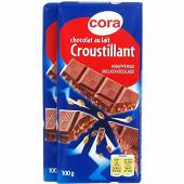 Cora chocolat supérieur au lait et aux céréales croustillantes 2x100g