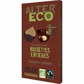 Alter Eco chocolat noir noisettes entières 200g