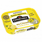 Connétable 1/5 sardines sans arête au citron à l'huile d'olive vierge extra 140g