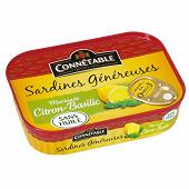 Connetable sardines généreuses citron basilic 1/5 140g