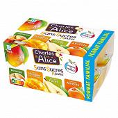 Charles & Alice spécialité de pommes poires abricots et mangues 12x100g sans sucres ajoutés