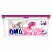 Omo Lessive capsules 3en1 rose & lilas blanc 27 lavages